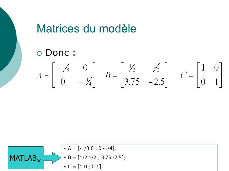 Matrices du modèle Donc : MATLAB® » A = [-1/8 0 ; 0 -1/4];